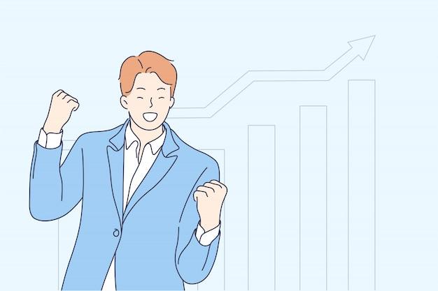 Concepto de estadísticas, negocios, éxito, meta, logro, celebración