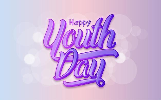 Concepto de estilo 3d de tipografía del día de la juventud