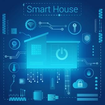 Concepto de estilo ligero absract moderno hogar inteligente. casa inteligente en el fondo futurista de las vías del microchip. internet de las cosas, tecnología iot.
