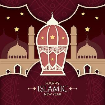 Concepto de estilo de papel de año nuevo islámico