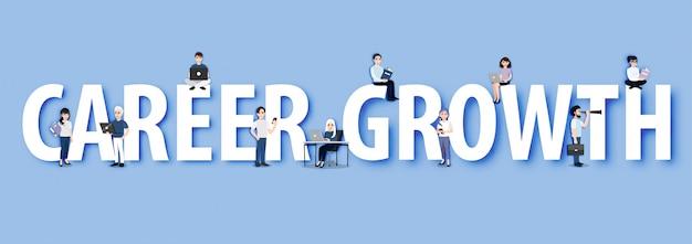 Concepto de estilo de personaje de dibujos animados de crecimiento profesional, selección de candidatos, escalera profesional, oportunidades corporativas, gestión de recursos humanos.