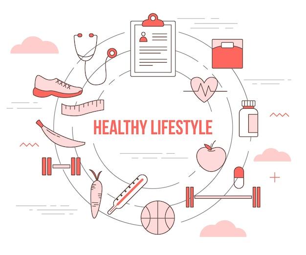 Concepto de estilo de vida saludable con banner de plantilla de conjunto con estilo moderno de color naranja