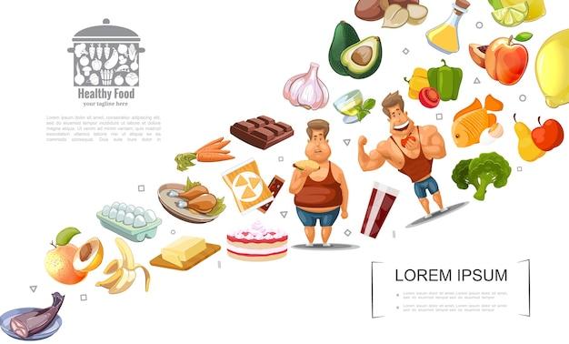Concepto de estilo de vida saludable de dibujos animados