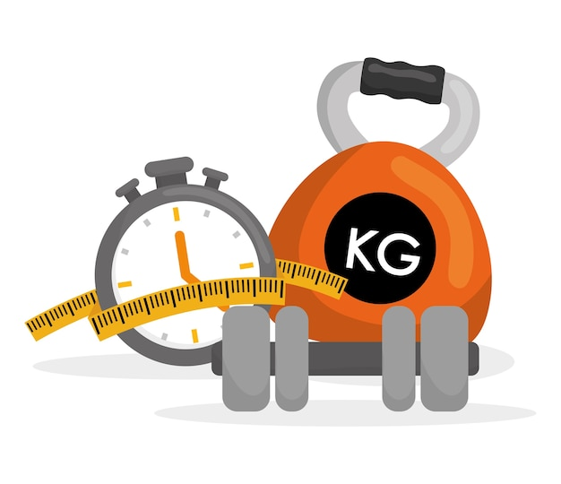 Concepto de estilo de vida saludable con diseño de icono de fitness, ilustración vectorial eps 10 gráfico.