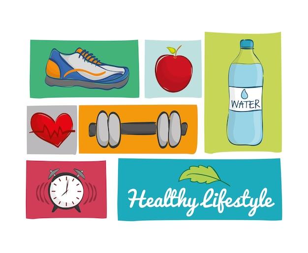Concepto de estilo de vida saludable con diseño de icono, gráfico de vector ilustración 10 eps.