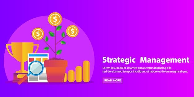 Concepto de estrategia, consultoría de negocios, recursos humanos y gestión plana moderna diseño web banner.