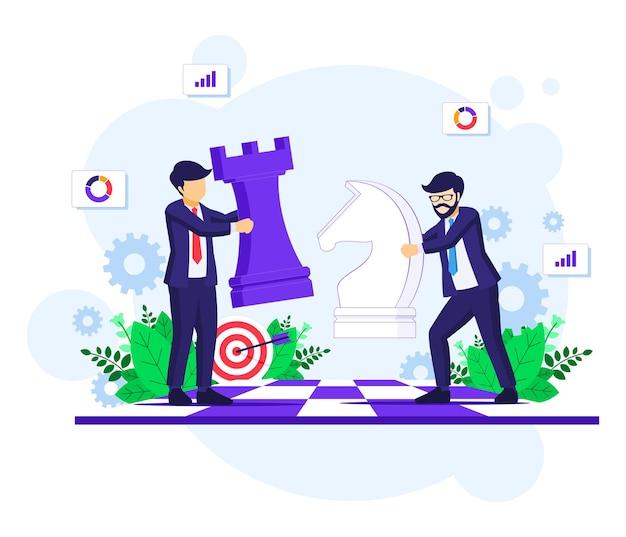 Concepto de estrategia empresarial con empresarios moviendo piezas de ajedrez en la ilustración de tablero de ajedrez