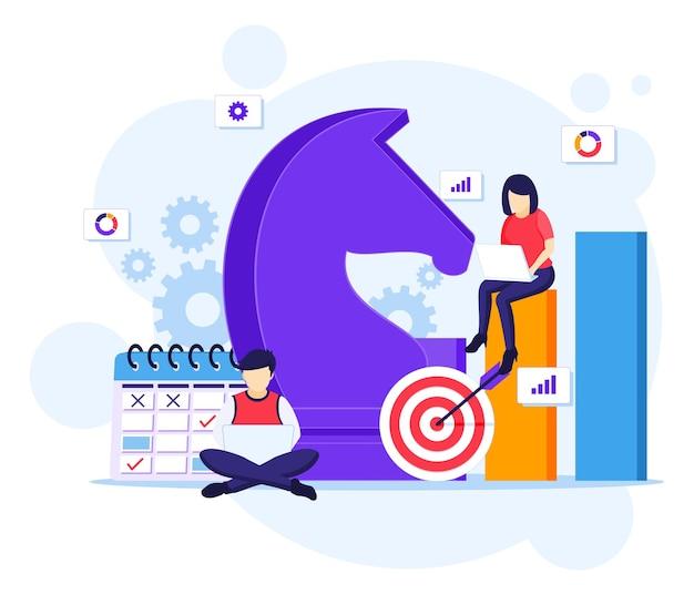 Concepto de estrategia empresarial, la gente está planificando un concepto de estrategia empresarial. metáfora del equipo, ilustración de logro de objetivos