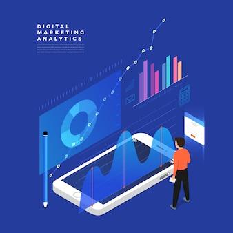 Concepto de estrategia empresarial. plano isométrico. análisis de datos e inversión. éxito empresarial revisión financiera con elementos portátiles y de infografía. ilustración.