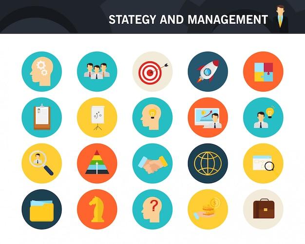 Concepto de estrategia y gestión de iconos planos.