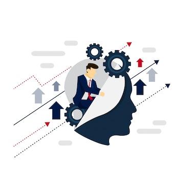 Concepto de estrategia de hombre de negocios de sistema inteligente