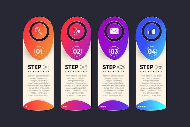 Concepto de estrategia de infografía de pasos