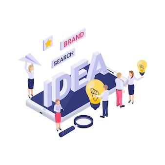 Concepto de estrategia de marca con lluvia de ideas de personajes isométricos creando nuevas ideas ilustración 3d