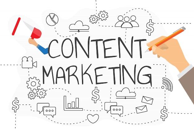 Concepto de estrategia de marketing de contenidos para su negocio.