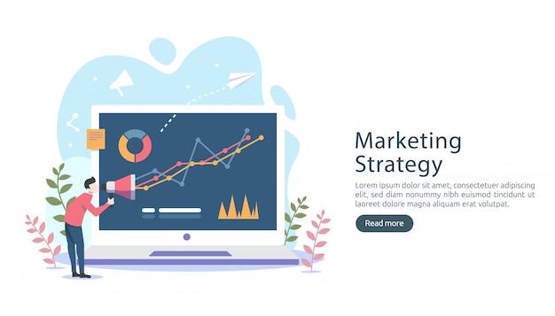Concepto de estrategia de marketing digital con carácter de personas diminutas, mesa, gráfico en pantalla de computadora