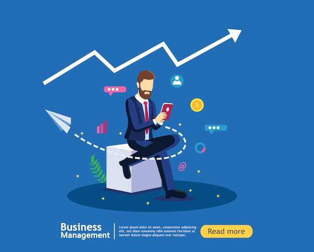 Concepto de estrategia de marketing digital con hombre de negocios en plantilla de diseño plano moderno