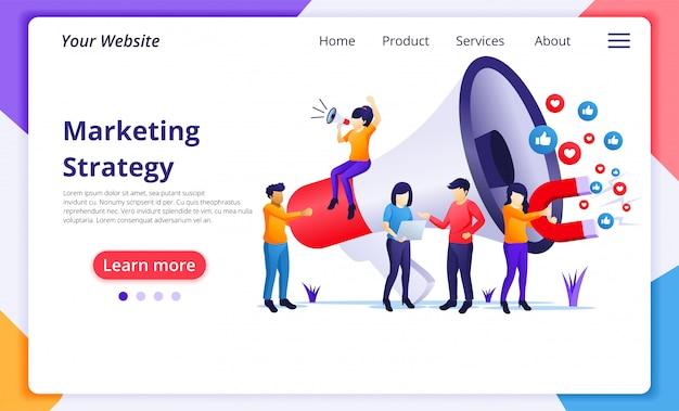 Concepto de estrategia de marketing, personas con megáfono gigante. plantilla de página de destino del sitio web