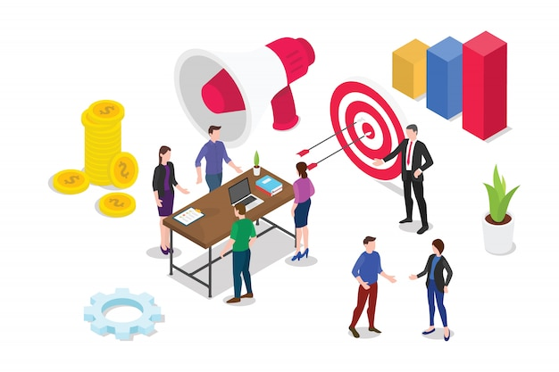 Concepto de estrategia de negocio 3d isométrico con gente de equipo trabajando juntos