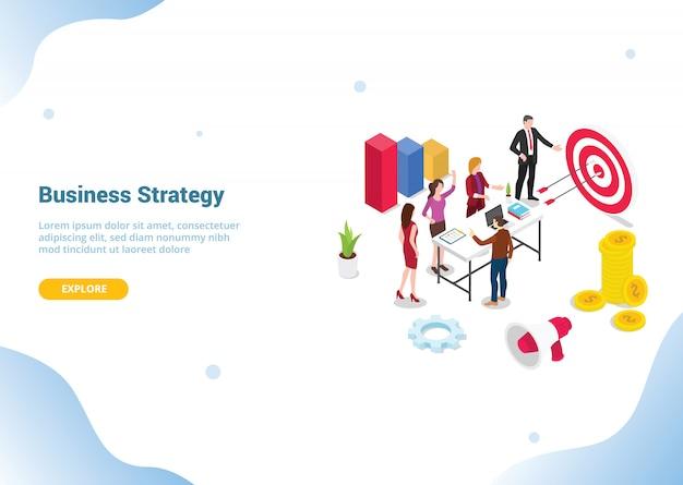 Concepto de estrategia de negocio 3d isométrico para plantilla de sitio web o página de inicio de aterrizaje