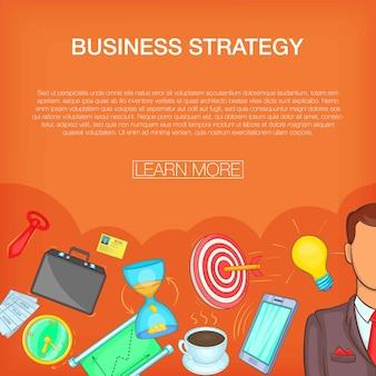 Concepto de estrategia de negocios, estilo de dibujos animados