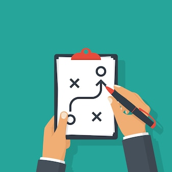 Concepto de estrategia de planificación. táctica empresarial.