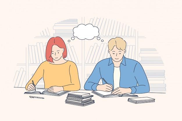 Concepto de estudio de aprendizaje de preparación de educación