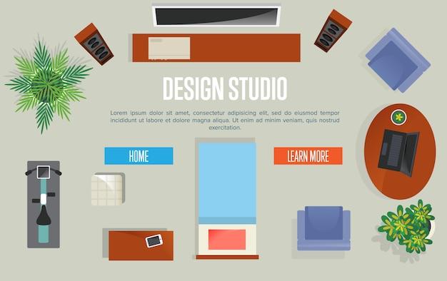 Concepto de estudio de diseño con apartamento con vista superior