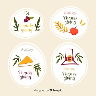 Concepto de etiqueta de acción de gracias dibujado a mano