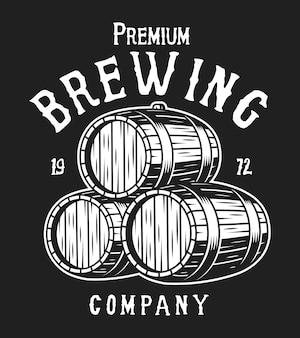 Concepto de etiqueta blanca de cervecería vintage