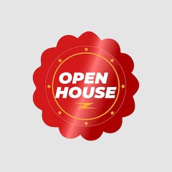 Concepto de etiqueta de casa abierta de bienes raíces