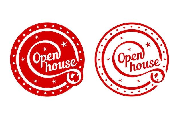 Concepto de etiqueta de casa abierta