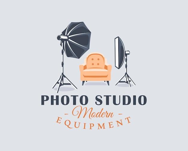 Concepto de etiqueta de estudio fotográfico. elemento de diseño plano. estilo de dibujos animados.