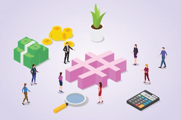 Concepto de etiqueta de medios sociales con gente de la multitud para negocios con estilo isométrico