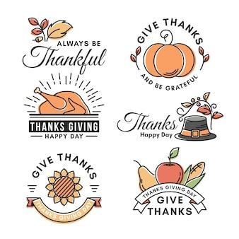 Concepto de etiqueta vintage de acción de gracias