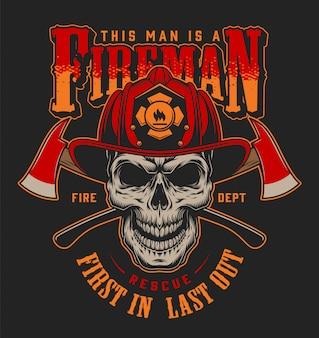 Concepto de etiquetas de bombero vintage con letras hachas cruzadas cráneo de bombero en la ilustración del casco