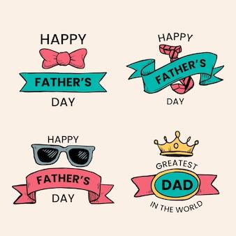 Concepto de etiquetas del día del padre dibujado