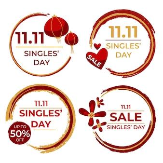 Concepto de etiquetas del día de los solteros