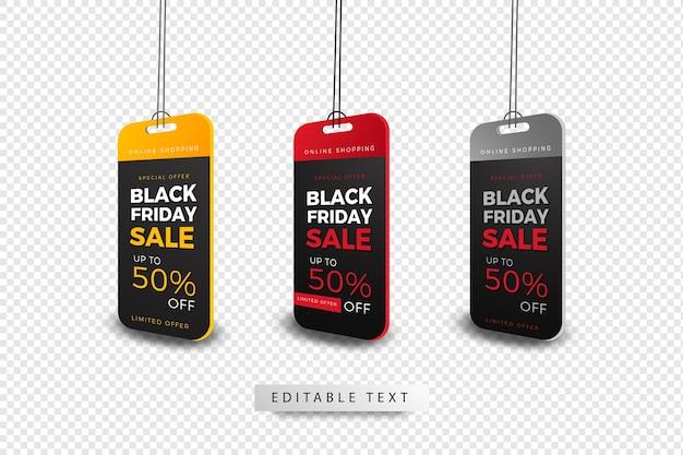 Concepto de etiquetas de precio de venta de viernes negro especial de compras en línea