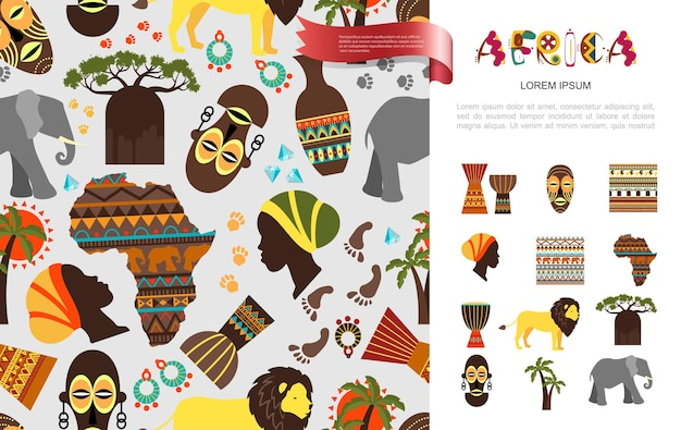 Concepto étnico flatafricano con máscara tribal baobab palmeras mujer africana y caras papúes elefante león jarrones áfrica mapa ornamental de patrones sin fisuras