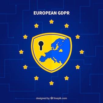 Concepto europeo de gdpr con diseño de plano
