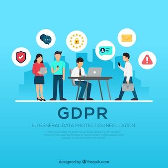 Concepto europeo de rgpd con diseño plano