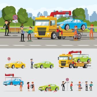 Concepto de evacuación de automóviles