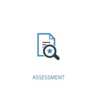 Concepto de evaluación 2 icono de color. ilustración simple elemento azul. diseño de símbolo de concepto de evaluación. se puede utilizar para ui / ux web y móvil