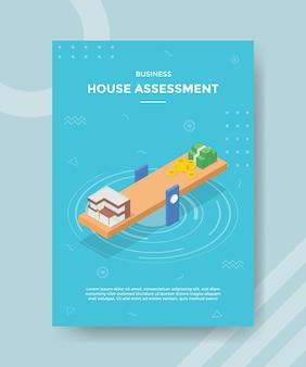 Concepto de evaluación de la casa para banner de plantilla y volante con estilo isométrico