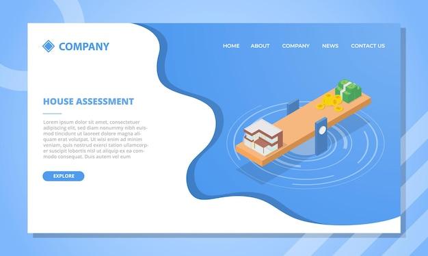Concepto de evaluación de la casa para plantilla de sitio web o página de inicio de aterrizaje con ilustración de vector de estilo isométrico