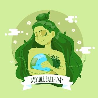 Concepto de evento del día de la madre tierra dibujado a mano