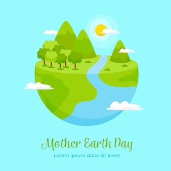 Concepto de evento de día de la madre tierra de diseño plano