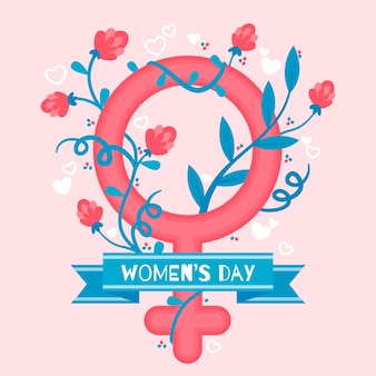 Concepto de evento de día para mujer de diseño plano