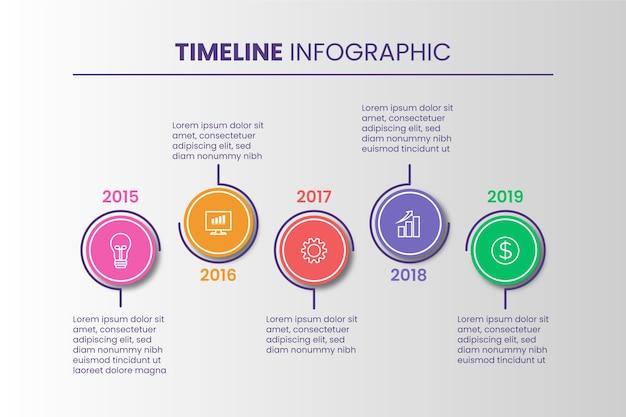 Concepto de evolución infográfica de la línea de tiempo