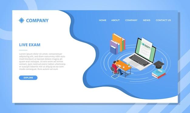 Concepto de examen en vivo para plantilla de sitio web o diseño de página de inicio de aterrizaje con estilo isométrico